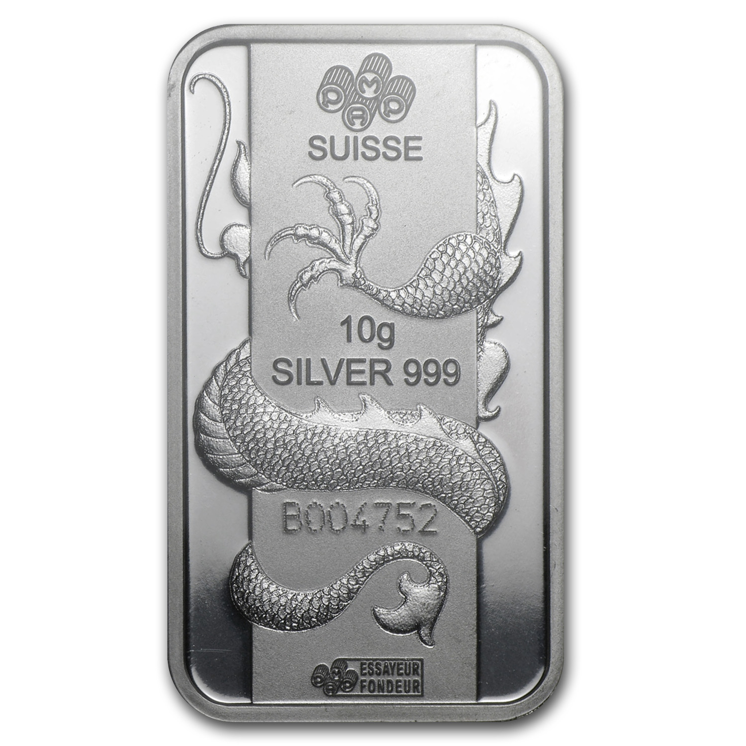 10 gram Silver Bars - Pamp Suisse (Year of the Dragon)